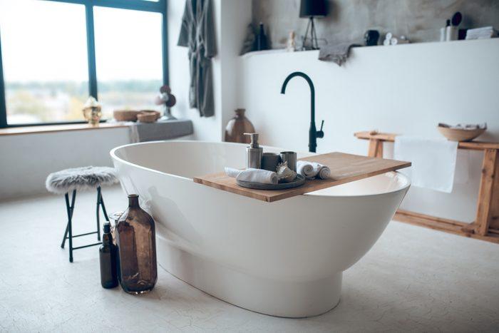 Modern nice bathroom with a big garden bathtub