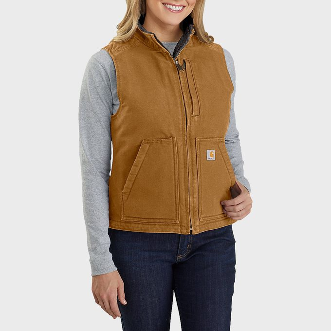 Relaxed Fit Washed Duck Sherpa Lined Mock Neck Vest
