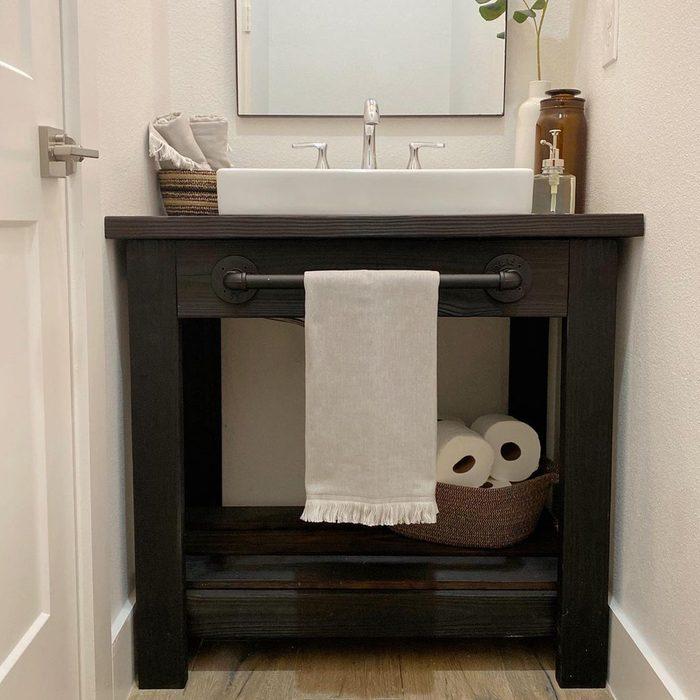 Diy Wooden Vanity in half bathroom