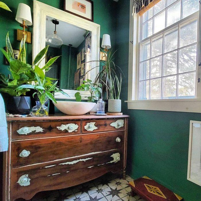 Green Painted Half Bathroom