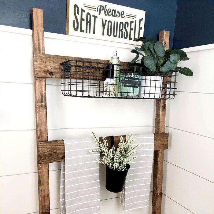 Ladder Storage Shelf In Half Bathroom