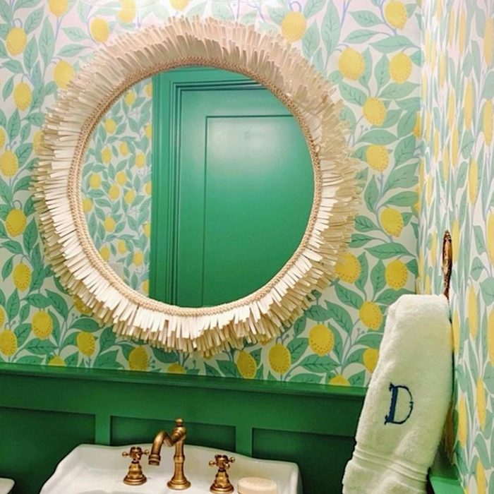 Lemon Wallpaper In Half Bathroom