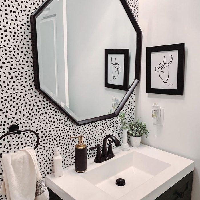 Modern Black And White Half Bathroom