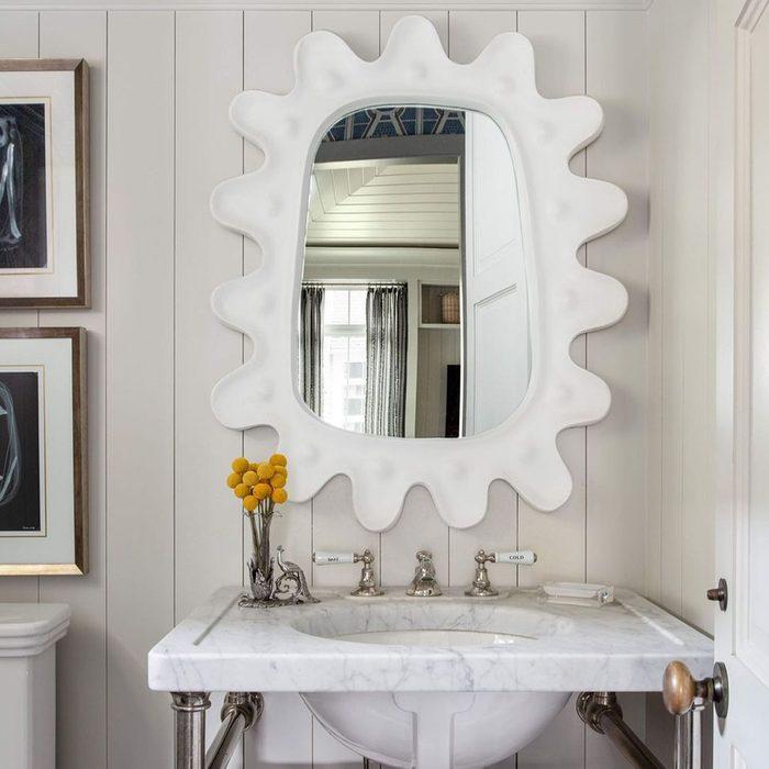 Statement Mirror In Half Bathroom